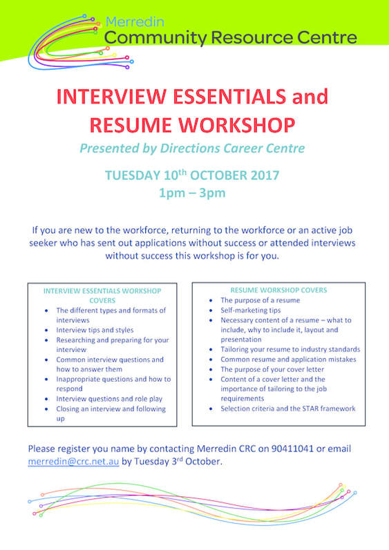 Interview Essentials and Resume Workshop Tuesday 10th October 2017